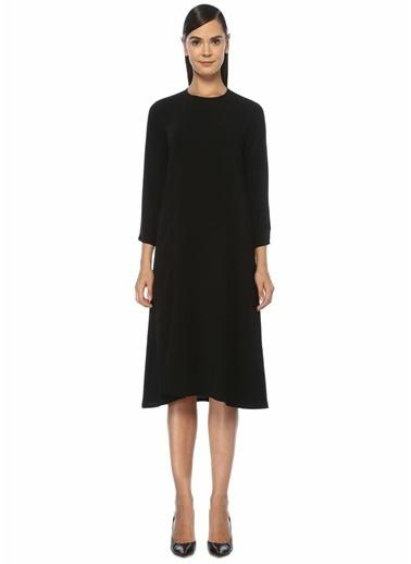 Beymen Club Yırtmaç Detaylı Uzun Kol Midi Krep Elbise Siyah